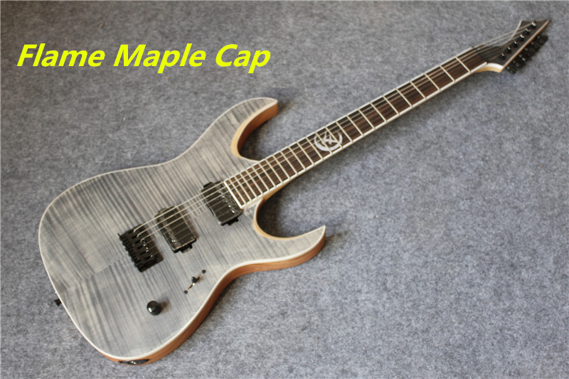 China Custom Shop Grey Tiger Flame Maple Cap Electric Guitar Mahogany Body Custom Inlay Available custom shop china lp electric guitar in desert burst color quilted top guitar body lefty custom available