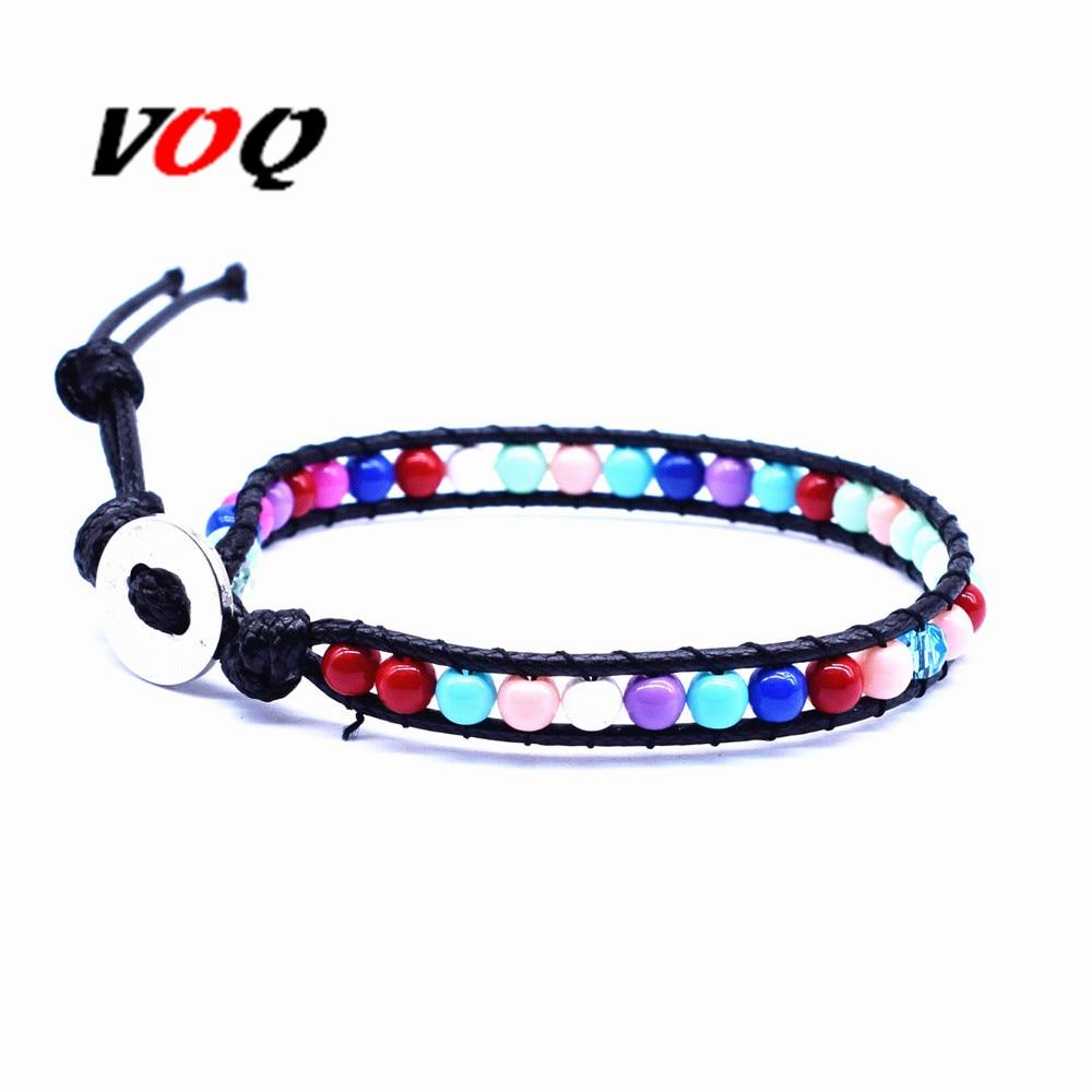 New Chakra Bracelet Handmade Wax Rope Chain Bracelet Multi Color Beads Natural Stone Bracelet for Men Women Jewelry Wholesale