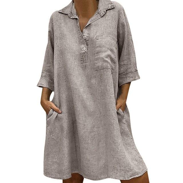 Mulheres inverno vestidos de menina Vestido Boho Sólida Turn-down Collar Casual Bolso Botão fêmea Vestido Ocasional Sólida