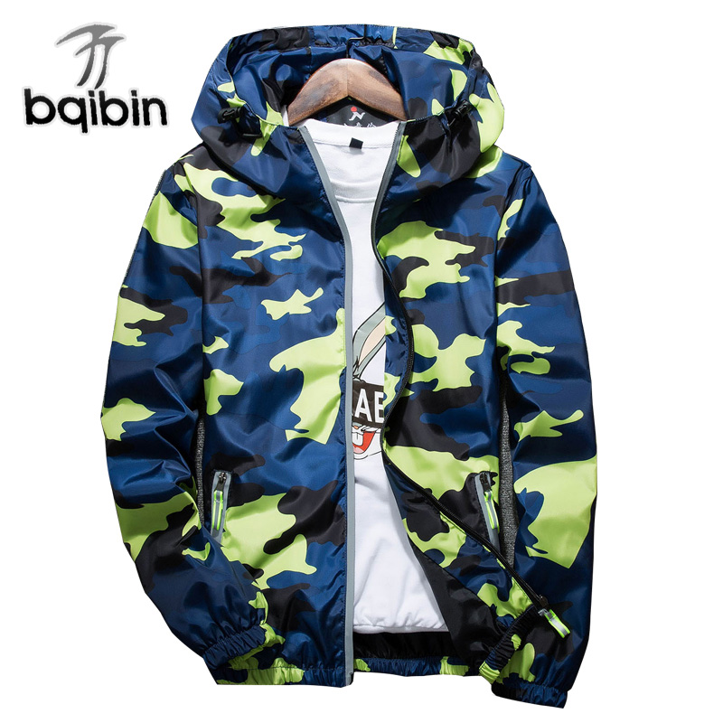70d7ad52498e 2018 New Autumn Men Bomber Jackets Casual Thin Hooded Reflective Camouflage  Jacket Windbreaker Men Plus Szie 4XL