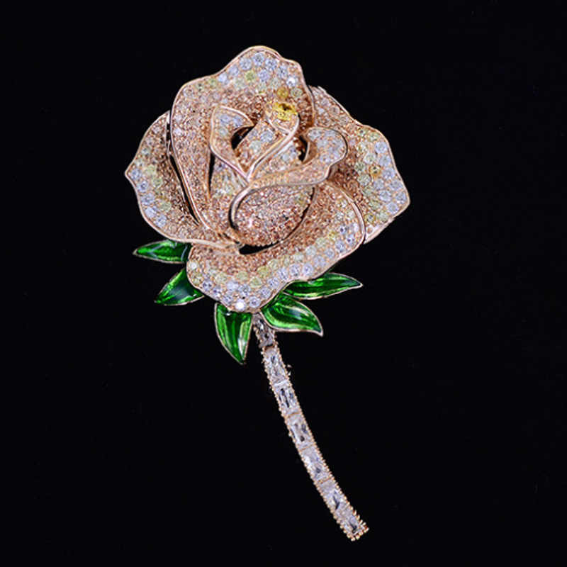Zlxgirl Merek Mewah Cubic Zirconia Bentuk Bunga Mawar Pengantin Wanita Perhiasan Pengantin Fashion Tembaga Emas Hijab Aksesori Syal Pin