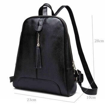 2020 Women Backpack Genuine Leather Travel Bag For Female Tassel Sweet Girl Backpack Natural Cowhide Teenager School Bag Daily
