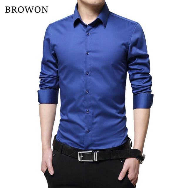 66f0ae47c844 BROWON Brand Men Dress Shirts Mercerized Cotton Solid Color Slim Fit Long  Sleeve Silk Shirt Smooth