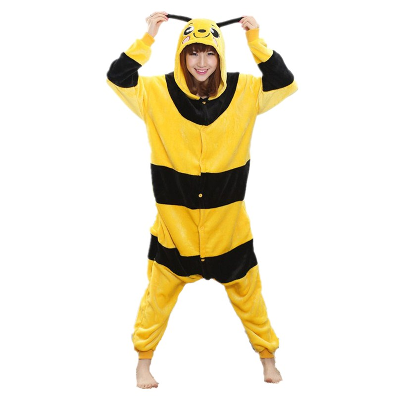 Lovely Yellow Bee Pajamas For Adult Costume Party Festival Soft Women Flannel Onesie Cartoon Jumpsuit Kigurumi Winter Sleep Suit (3)