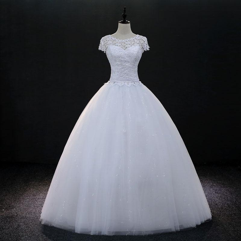 8ee5f87ee4 ᑎ‰Fansmile Manga Curta Vintage Lace Up Bola Vestidos de Casamento ...