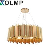 Итальянский дизайн Брубек подвесные лампы освещения алюминиевая трубка Современная Подвеска светильник золото Мода проект лампы