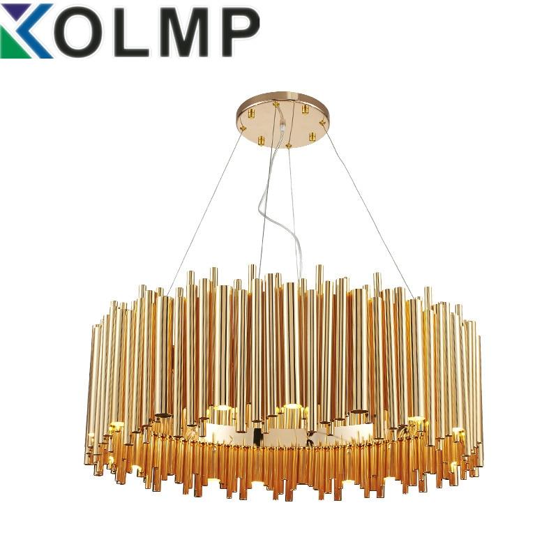 Italy design brubeck pendant lamp lighting aluminum tube contemporary suspension luminaire gold fashion project lamp italy