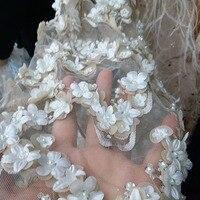 Swiss handmade wedding dress fabric, 3D applique plus pearl, very luxurious wedding evening dress fabric
