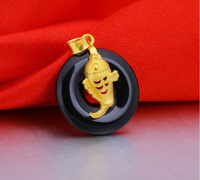 Чистый 24 К желтый золотой кулон/3D природный круг рыбы кулон/золото: 2.3 г