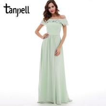 Tanpell boat neck prom dress mint chiffon floor length a line dresses back zipper up ruffles women formal graduation prom gown