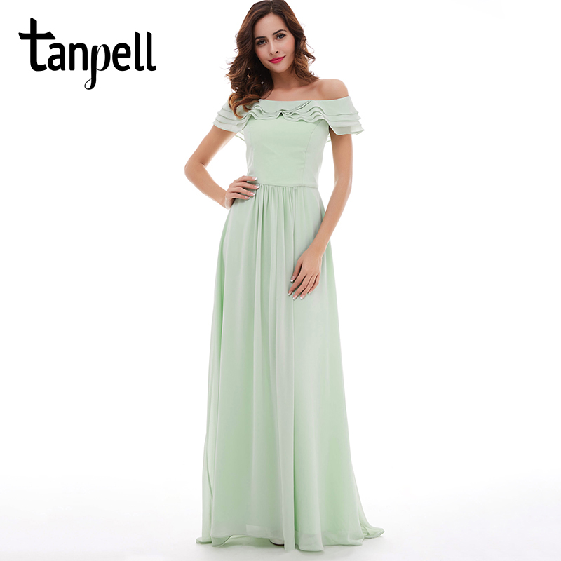 Tanpell boat neck prom dress mint chiffon floor length a line dresses back zipper up ruffles women formal graduation prom gown