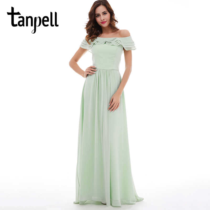 Tanpell סירת צוואר שמלה לנשף אורך רצפת שיפון מנטה קו שמלות חזור ציפר עד ראפלס נשים פורמליות לנשף סיום שמלת