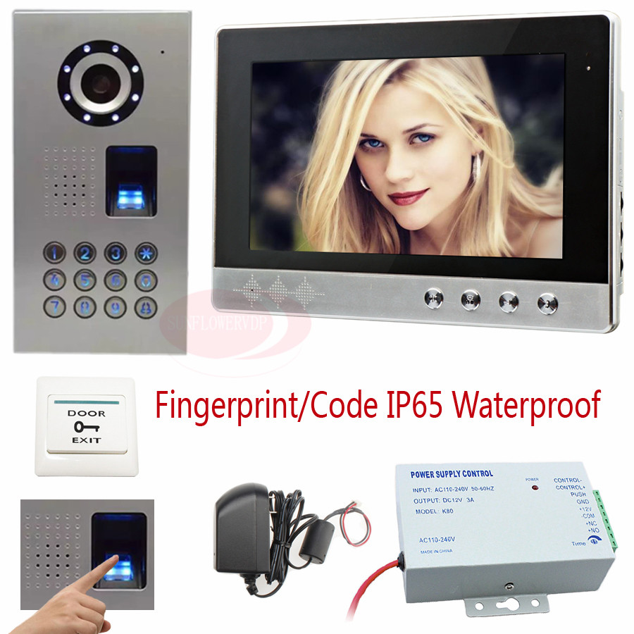 Intercom System For Home With Fingerprint/code unlock 10Inch Color LCD Video Door Phone CCD Camera +Access control power supply video doorphones ip65 waterproof fingerprint code unlock ccd camera video intercom with lock rfid function access control kit