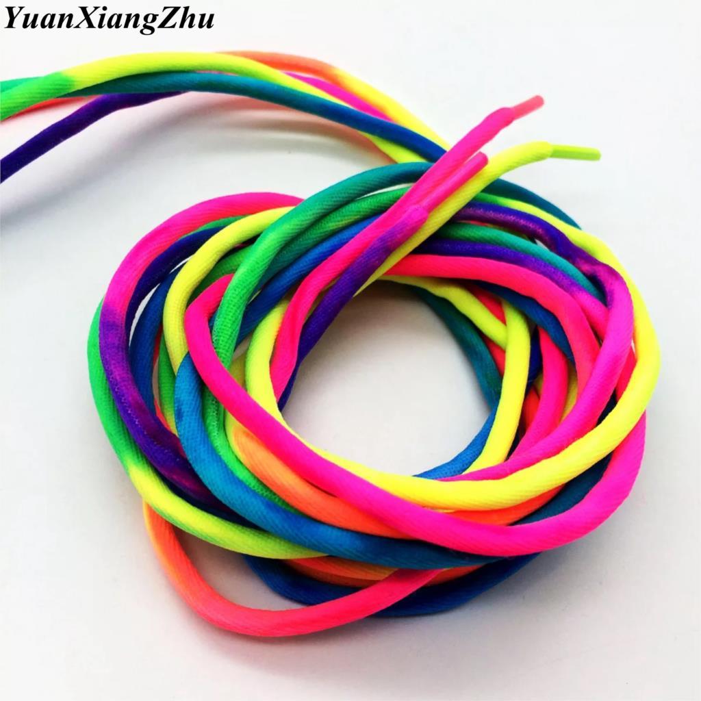 1 Pair Round Rainbow Shoelaces Canvas Athletic Shoelace Sport Sneaker Shoe Laces Strings 100CM/120CM