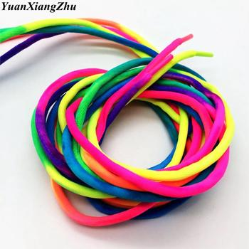 1 Pair Round Rainbow Shoelaces Canvas Athletic Shoelace Sport Sneaker Shoe Laces Strings 100CM/120CM 1 pair gradient sport shoelaces fashion elastic shoe strings high quality black green canvas personality athletic flat laces