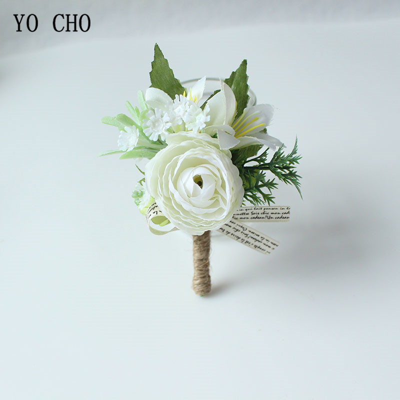 YO CHO Boutonnieres Buttonhole Rose Brooch Wedding Corsages Bracelet Bridesmaids White Groom Flower Boutonniere Ceremony Flowers
