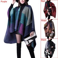 New Arrival Women Autumn Winter Fashion Oversized Thick Knitted Tartan  Cashmere Scarf Blanket Cardigans Plaid Shawl 4 Color