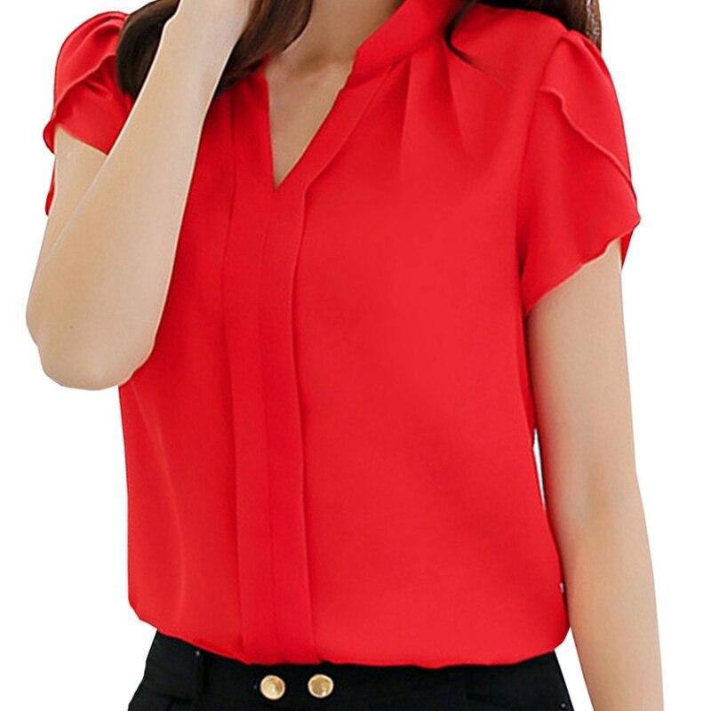 Women Body Blouse Shirt Short Sleeve V Neck Red Summer Autumn Female Clothing Korean Work Wear Tops