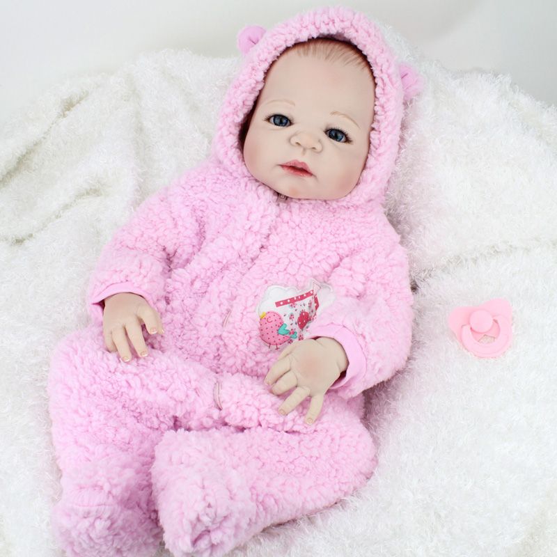 22Inch Full Silicone Reborn Baby Girl Lifelike Interactive Full Body Silicone Reborn Doll Girls Toys Birthday Gift For Children 16 inch silicone reborn babies reborn doll cute full silicone baby doll for children girl birthday gift
