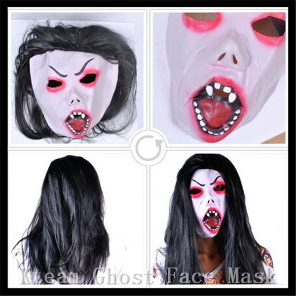 Halloween Party Cosplay Scary Ghost Face Mask Halloween Toothy Zombie Bride With Black Hair Horror Ghost Head Mask Toy Costumes & Accessories Costume Props