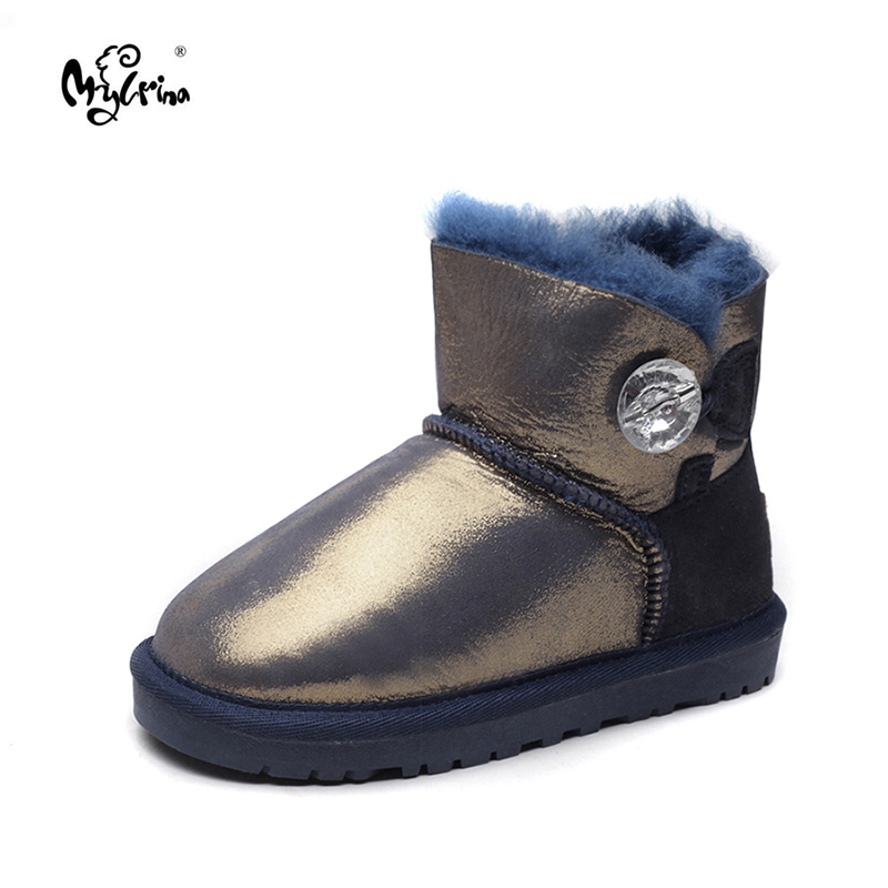 MYLRINA Kids 2018 New Fashion 100% Genuine Sheepskin Leather Winter Boys Girls Snow Boots Children Natural Fur Warm Ankle Boots