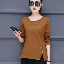 Shintimes Sequined T Shirt Women Long Sleeve Tshirt Female Vogue T-Shirt Vetement Femme 2018 Split Cotton Slim Womens Clothing