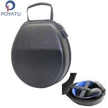Poyatuポータブルフルサイズケースバッグ用ソニーゴールドワイヤレスプレイステーションps3 ps4 7.1仮想サラウンドヘッドフォンヘッドセットキャリーボックス