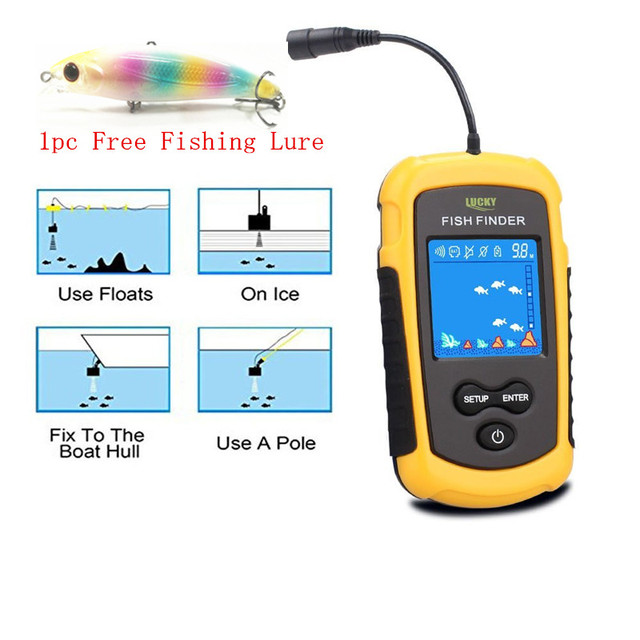 Cheap FFC1108-1 Fish Finder Portable Sonar Sensor Wired LCD Deeper Fish Finder Alarm 100M Electronic Fishing Lure Echo Sounder Tackle