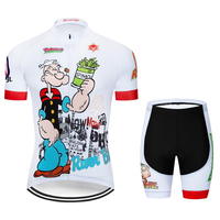 Banesto 2018 Summer Popey Cycling Jersey Men Short Sleeve Short Cycling Clothing Cycling Maillot Bicycle Love to eat spinach