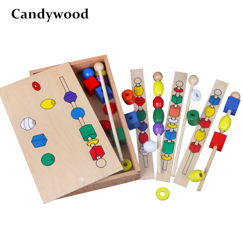 Montessori Materials Trisomy Six Colors Beads Baby Sensory Toys Child Montessori Educational Wooden Toys Kindergarten Learning