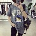 Verano Nueva Loose Letras Impresas de Dibujos Animados Lindo Perro de Arena T camisas para Las Mujeres Del O-cuello Corto Manga Camiseta Mujer Casual Tops M-2XL
