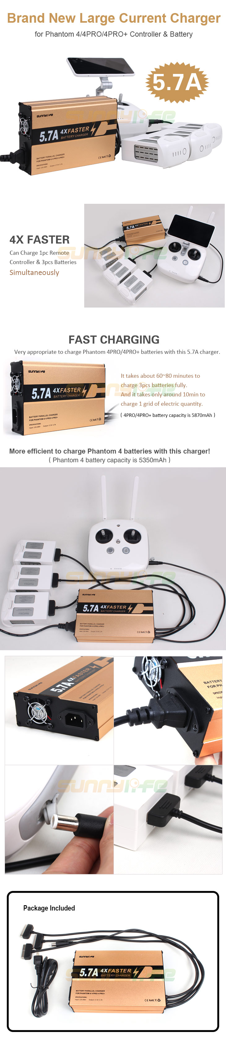 4 in 1 Faster 5.7A Rapid Battery Controller Parallel Multi Charger for DJI Phantom 4/4 PRO/PRO+ Rapid Battery charger EU/US plug