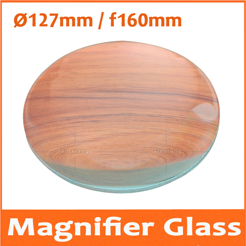 5X <font><b>127mm</b></font> Optical Glass lenses magnifying glass lenses Magnifier Double convex lens Cosmetic instrument lenses focal length 160mm image