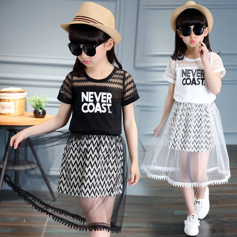 summer fashion girls sets letters short sleeve yarn lace cotton kids girls clothes t shirt and skirt children suits 4-12 years 2017 new style fashion mom and girls short sleeve letter t shirt dot black skirt set summer kids casual clothes parenting 17f222