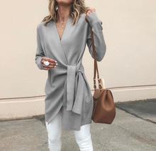 46ae11c49d ... Product Women Long Sleeve Casual Cardigan 2018 Autumn Fashion V Neck  With Belt Solid Tops Female Elegant Coats Outwear
