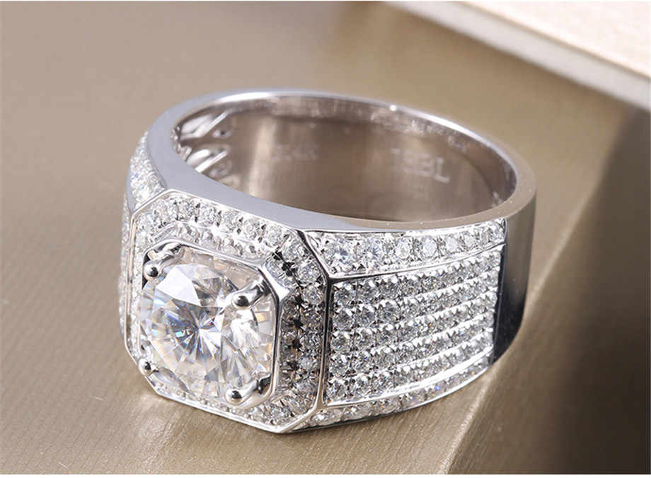 หรูหราคลาสสิกวินเทจผู้ชายแหวนเงินจริงชุบz irconia 8มิลลิเมตรD Iamant CZหินแหวนแต่งงานสำหรับผู้ชายขนาด8/9/10/11/12/13