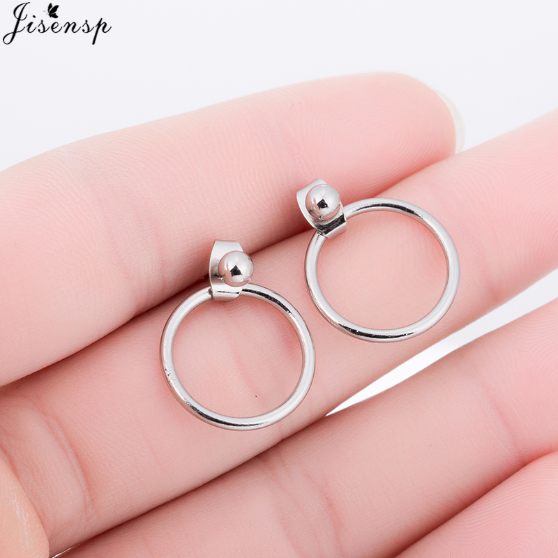 Jisensp Hot Sale Big Smooth Circle Earrings Basketball Brincos for Women Jewelry Trendy Gold Color Oversize Round Stud Earrings
