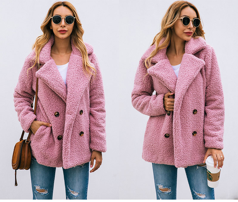 HTB17AiDbbH1gK0jSZFwq6A7aXXa0 Lossky Women Long Sleeve Autumn Winter Thick Warm Jacket Coats Plus Size Loose Button Pocket Pink Lady Plush Flannel Overcoat