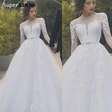 Свадебное платье с длинным рукавом superkimjo es 2020 Кружевная