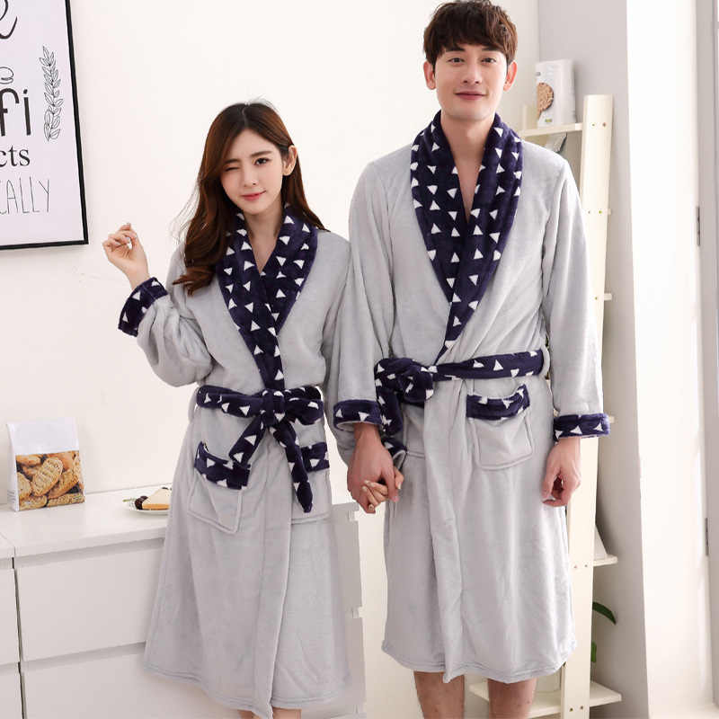 Women s Warm Winter Night Robe 2018 Autumn Flannel Couple Homewear Bathrobe  Female Long Thicken Sashes Soft beb3e9aaf