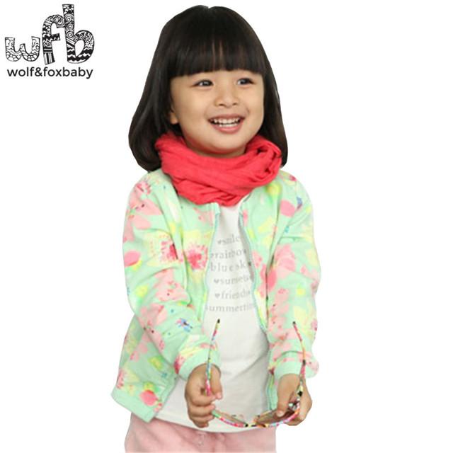 Los niños al por menor verde floral chaqueta de Ropa Niñas Ropa de moda de Ropa Infantil Del envío libre
