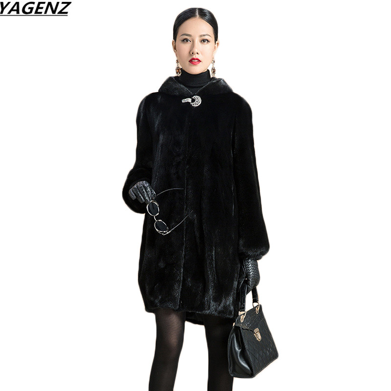 2017 Fashion Faux Fox Fur Coat Women Winter Jacket Medium Long Luxury Warm Fur Coats Female Hooded Overcoat Plus Size 6XL K647