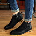 Botas Invierno 2016 Winter New Men's Chelsea Boots Brogue Shoes With fur Warm Flat Boots Leather ankle botas masculina L100605