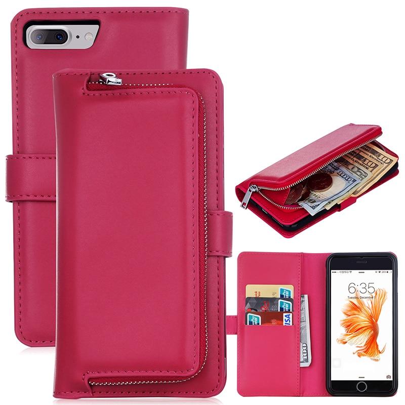 bilder für Für Apple iPhone 7 7 Plus Luxus Frauen Pu-leder Reißverschluss Geldbörse telefon Fällen Rückseite Fall Taschen Capa Coque Für iPhone 7 Plus