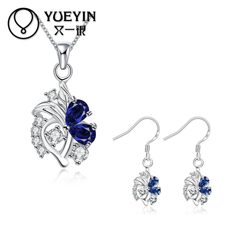 Fantastic Jewelry Sets Romantic Creative Womens Necklace Earrings Two-piece Set Silver Filled Noble Crystal Jewelry Sets