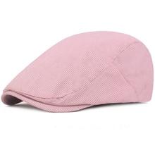 HT2286 Berets Men Women Spring Summer Sun Hats Vintage Striped Beret Caps Artist Painter Ivy Gastby Flat Cotton Newsboy Cap