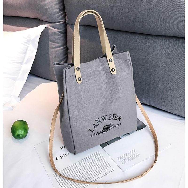 2pcs Women Canvas Shoulder Shopping Bag Tote Crossbody Bags Satchel Handbag Purse Bags2pcs Women Canvas Shoulder Shopping Bag Tote Crossbody Bags Satchel Handbag Purse Bags