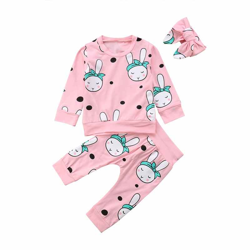 1191496f5452b Newborn Infant Baby Girl Cartoon Rabbit Clothing Set Coat  Tops+Pants+Headband Girl Clothes