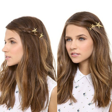 Фотография New Fashion Women Girls Gold/Silver Plated Metal Triangle Circle Moon Hair Clips Metal Circle Hairpins Holder Hair Accessories