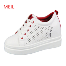 White Platform Leather Shoes Hidden Heel 10CM Wedge Sneakers